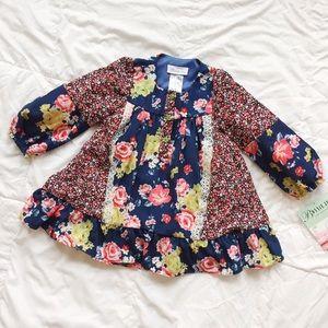 Bonnie Jean NWT Boho Style Blue Floral Dress Sz 4